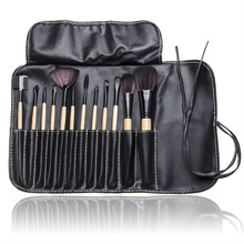 2014 Brand new 12 PCS Makeup Brush Set with Black Leather Case Make Up Brushes Free Shipping