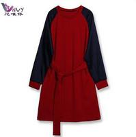 New 2014 winter dress victoria beckham vestido desigual maxi patchwork long sleeve o-neck plus size S-4XL knee-length dress W055