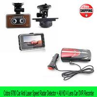 Free shipping Digital car speed Radar Laser Cobra9780 Detector Russian/English+A8 HD 1080P Car DVR video Recorder 4 lens car Cam