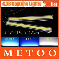 Silver Border 17cm long 100% Waterproof COB LED lights Universal Car DC12V-16V 15W Car LED DRL Daytime Running Light 2pcs/lot