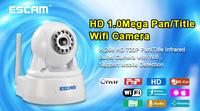 US/UK/EU/AU PLUG Escam QPT511 H.264 1/4'' CMOS Security CCTV IP Network Camera IR Night Vision Onvif mini P2P IP Camera