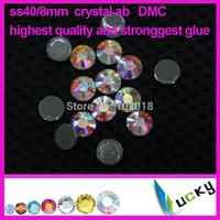 A+ Quality hot fix rhinestones copy swarov 2038 DMC! 144pcs ss40/8mm crystal ab Color strass crystal for iron on transfers