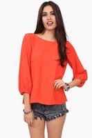 SZ043 New 2014 Fashion Women's Spring Summer Loose Blouse Backless Bow Pattern Chiffon Shirt Tops  Blusas Femininas S&Z