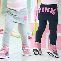 2014 Kids Autumn and Spring Trousers Skirt Girls Cute Letter Pattern Pants Child Long Leggings K1221