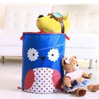 Free shipping creative cartoon folding nylon fabric dirty clothes basket clothing toys basket laundry sundries storage bucket