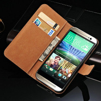 Genuine Leather Case For HTC One 2 M8 Wallet Style with Stand Card Holder Free Screen Protector