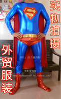 2014 New Arrival High Quality HALLOWEEN Cosplay Shiny Metallic Red and Blue Superman Costumes Zentai Suits with Cloak