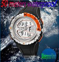 2014 NEW brand ALIKE watch LED 50M Waterproof Digital Analog Quartz Watch Wristwatch Timepiece for Men Male Boy sports watch