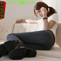 Hot new 2014 Korea spring new women's LIGHT BLACK   pencil pants leisure pants jeans feet