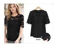 new 2014 plus size linda camisa saia cropped florais guipir renda camiseta blusa roupa feminina hollow out lace Blouses2038