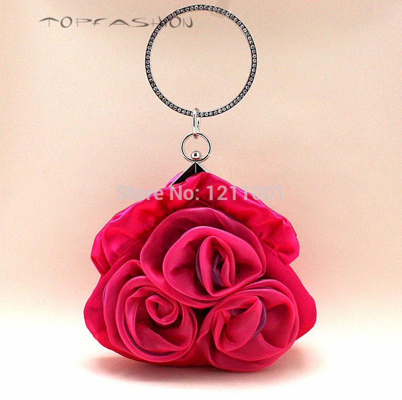 Promotion Newest design 2014 fashion soft flower clutch bag crystal women bag dressing bag factory price(China (Mainland))