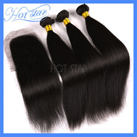 Brazilian virgin remy hair silky straight human hair 3pcs hair bundle with one lace closure 4pcs lot rosa products