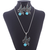 Vintage Silver Turquoise Butterfly Pendant Necklace and Earring Jewelry Set 2014 Fashion Jewelry Free Shipping Wholesale Lot