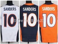 Free shipping 2014 Nesest #10 Emmanuel Sanders Men's Elite Football Jersey size: 40-56 , Mix Order