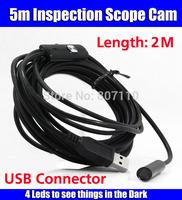 Fast Free Shipping 2m Mini USB 2.0 Waterproof Endoscope Borescope Snake Inspection Camera with 4pcs LED lights