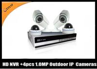 HD 4CH 720P NVR kit 4pcs 720P IP IR Outdoor Waterproof and Vandal-proof  cameras supportP2P/push video BQ-NVK7304RD