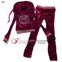 Brand 2014 new style spring velvet track suit Korean version of the small velvet leopard cardigan Straight women's Set