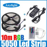 10M 2*5m 5050 RGB led strip light 30leds/M  SMD Strip Lighting +44 key ir remote controller +DC12V 5A Power Adapter WLED52