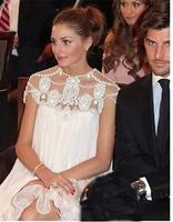 2014 New Design Luxury Celebrity Party  Dress Women Shortsleeve  Beaded Chiffon  Pleated Dress Brand High Quality Prom Dresses