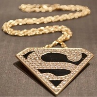 Fashion personalized golden super man mark triangle long pendant necklace