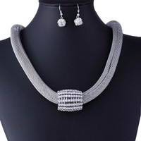 Silver-Plated Famous Brand Crystal Ball Double Mesh Chain Necklace and Earring Jewelry Set 2014 Fashion Jewelry Free Shipping