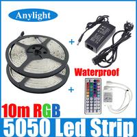 10M rgb led strip 5050 waterproof  2*5m smd strip lighting +44 key IR remote controller +DC12V 5A Power Adapter WLED53
