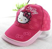 Retail 2014 fashion snapback hats cute baby girls cartoon hello kitty baseball caps summer children cotton sun hat Bow Print cap