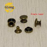 100pcs 7*3mm Round Double Rivet Stud Collision Nail Spike Metal For DIY Leathercraft Shoes Bag Belt Garment Bracelet #GZ015-7BR
