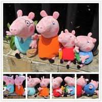 4pcs/lot Free shipping Hot Sale Daddy Mummy Pig Peppa George Pig family Plush Toys Movie Peppa Pig Kids Stuffed Animals Dolls