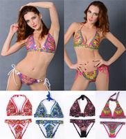 High quality women sexy printed bikini   push up swimsuit fashion summer women swimwear 11design