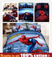 New 2014 Fashion Spiderman Superman 500TC 100%cotton 4pc Bedding set Bedclothes Duvet cover bed linen Comforter cover Queen size