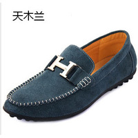 2014 new men,  Genuine Leather, genuine, flat heel, business, Peas shoes, casual driving shoes, men leather shoes, free shipping