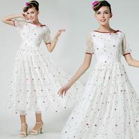 Hot 2014 Summer Autumn Women Fashion Slim Elegant Short Sleeve Bow Rose Embroidery Gauze Long Maxi Dresses Princess White QZ056
