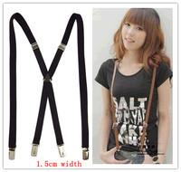 BD005-- New Arrival 4 clip straps 1.5 cm width Men's Suspenders elastic Braces for women free shipping