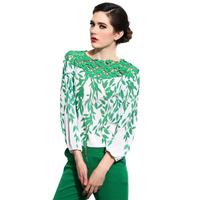 Women Tops And Blouses 2014 New Fashion Mesh Lace Polyester 3/4 Sleeve Shirt High Street Sheer Blouse Blusas Femininas