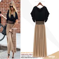 New Fashion 2014 Bohemian Women's High Waist Ruffle Sleeve Sexy Vintage Long Chiffon Maxi Dress On sale Plus Size Wholesale