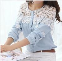 2014 New Fashion Cute Ladies Casual Crochet Lace Shoulder Long sleeve Tops Blouses Shirts Chiffon Lace patchwork Plus size S M L