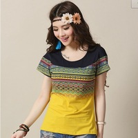 Summer Women's Simple Short-sleeved Commuter T-Shirt Printing Stitching