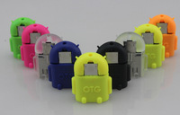 New arrival Wholesale 5pcs/lot  FOR  Android COLOR robot shape Micro usb to USB OTG adapter for Samsung Galaxy S2/S3/S4  ##01