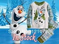 2014 Pijama Infantil Unisex Raglan Sleeve Character Frozen Olaf Pajamas Kids Sets Snowman Sleepwear Pijamas Setsfree Shipping