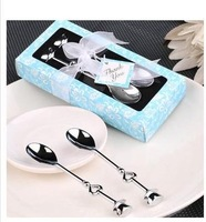 Double Heart Coffee Spoons Wedding favors Christmas gifts 40pcs/lot =20box/lot