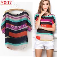 Y007--drop shipping New fashion Women rainbow Striped chiffon blouse  Loose Short Sleeve casual blouse plus 7 Size S-XXXL