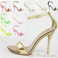 New 2014 Plus Size 34-42 10 11 Neon Yellow Green Plum Sliver Women's Brife Sandals High Heels Shoes Summer Pumps for Women