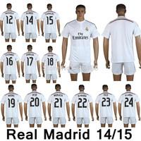 New arrival 14/15 Real Madrid home white soccer jersey +shorts,marcelo alonso essien albiol modric callejon di maria illarra kit