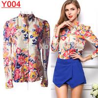 Y004--Free Shipping European Fashion Vintage Floral Print Long Sleeve Blouses Women Flower shirt