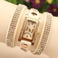Brand Rhinestone Dress Watches New Fashion Wrap Leather Dress Wristwatches Women Casual Watches Rhinestone Quartz Wristwatches