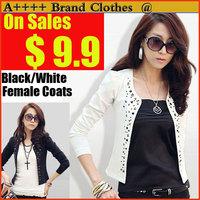 New 2014 Korean Slim Rivet small suit jacket slim colorant match autumn coat OL leisure suit female Black White Suit Outerwear