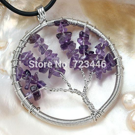 Natural Amethyst Gravel Beads Round Tree Of Life Winding Reiki Pendulum Pendant Charms Health Amulet Numen Classic Jewelry 10X(China (Mainland))