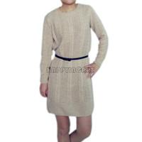 New Women Girls Ladies Korean Casual Crewneck Skinny Long Knit Jumper Pullover Sweater Dress PQ628
