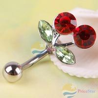 PriceStar Pretty Rhinestone Red Cherry Navel Belly Button Barbell Ring Body Piercing Worldwide free shipping